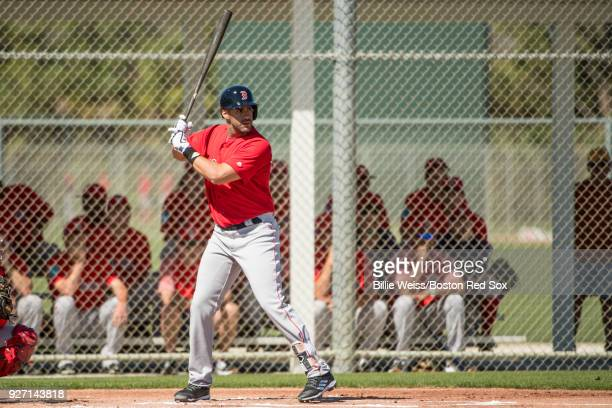 D Martinez of the Boston Red Sox bats in a simulated game during a team workout on March 4 2018 at Fenway South in Fort Myers Florida