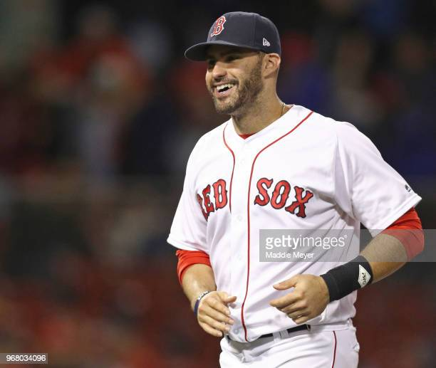 JD Martinez of the Boston Red Sox celebrates after defeating the Detroit Tigers 60 at Fenway Park on June 5 2018 in Boston Massachusetts