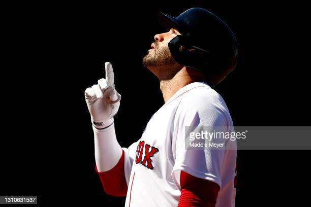 Martinez of the Boston Red Sox celebrates after hitting a single against the Baltimore Orioles during the fourth inning at Fenway Park on April 03,...