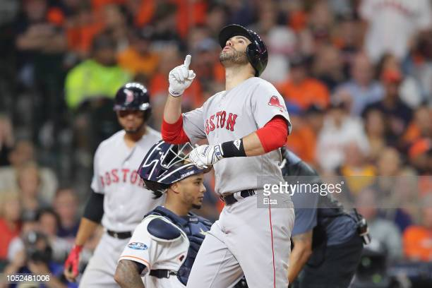 D Martinez of the Boston Red Sox celebrates after hitting a solo home run in the third inning against the Houston Astros during Game Five of the...