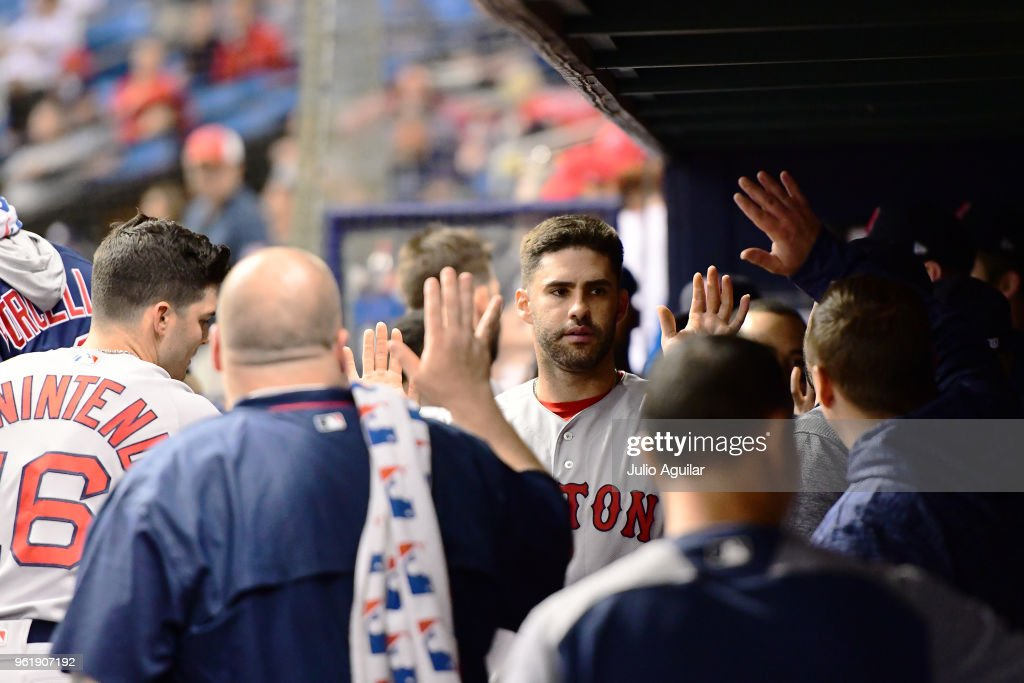 J.D. Martinez #28 of the Boston Red Sox celebrates after scoring in the ninth inning against the Tampa Bay Rays on May 23, 2018 at Tropicana Field in St Petersburg, Florida. The Red Sox won 4-1.