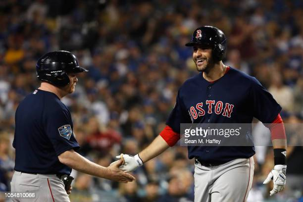 D Martinez of the Boston Red Sox celebrates his seventh inning home run against the Los Angeles Dodgers in Game Five of the 2018 World Series at...