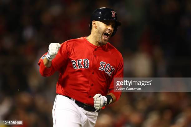 D Martinez of the Boston Red Sox celebrates his three run home run in the first inning during Game 1 of the ALDS against the New York Yankees at...