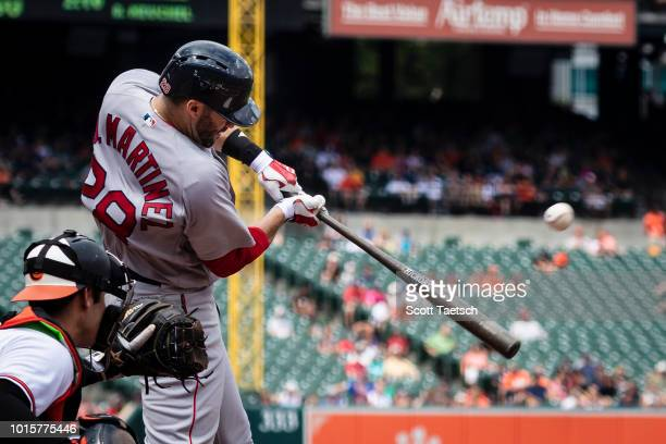 D Martinez of the Boston Red Sox doubles against the Baltimore Orioles during the fourth inning at Oriole Park at Camden Yards on August 12 2018 in...