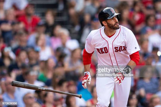 D Martinez of the Boston Red Sox flips his bat after hitting a two run home run during the fifth inning of a game against the Chicago White Sox on...