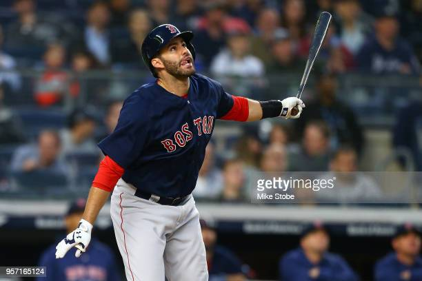 D Martinez of the Boston Red Sox hits a foul ball in the third inning against the New York Yankees at Yankee Stadium on May 10 2018 in the Bronx...