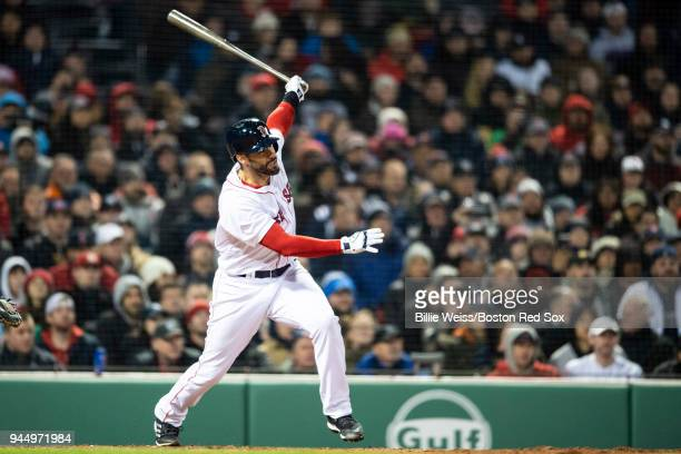 D Martinez of the Boston Red Sox hits a grand slam home run during the fifth inning of a game against the New York Yankees on April 11 2018 at Fenway...