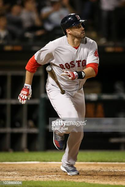 D Martinez of the Boston Red Sox hits a home run in the ninth inning against the Chicago White Sox at Guaranteed Rate Field on August 30 2018 in...