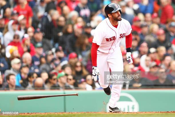 D Martinez of the Boston Red Sox hits a solo home run in the third inning of a game against the Baltimore Orioles at Fenway Park on April 14 2018 in...