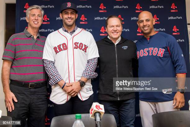 Martinez of the Boston Red Sox poses for a photograph with Boston Red Sox President of Baseball Operations Dave Dombrowski, agent Scott Boras, and...