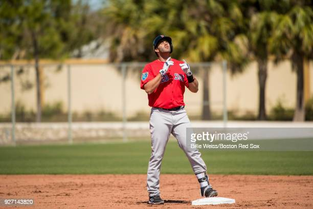 D Martinez of the Boston Red Sox reacts after hitting a double in a simulated game during a team workout on March 4 2018 at Fenway South in Fort...
