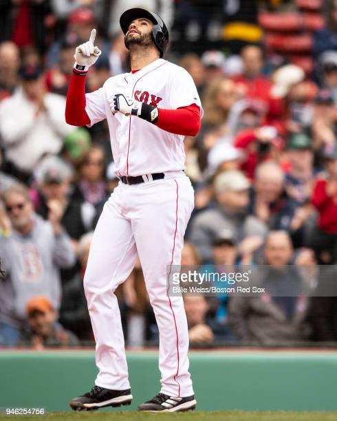 D Martinez of the Boston Red Sox reacts after hitting a solo home run during the fourth inning of a game against the Baltimore Orioles on April 14...
