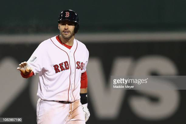 D Martinez of the Boston Red Sox reacts after hitting a third inning double against the Los Angeles Dodgers in Game One of the 2018 World Series at...