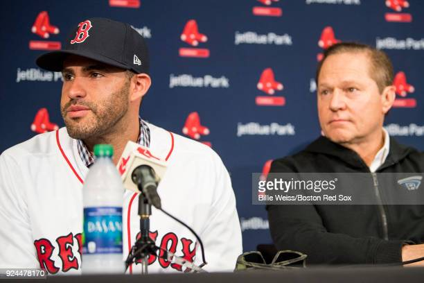 D Martinez of the Boston Red Sox reacts with agent Scott Boras as he speaks during a press conference announcing his signing on February 26 2018 at...