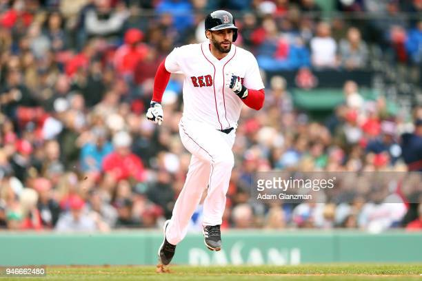 D Martinez of the Boston Red Sox runs to first base during a game against the Baltimore Orioles at Fenway Park on April 14 2018 in Boston...