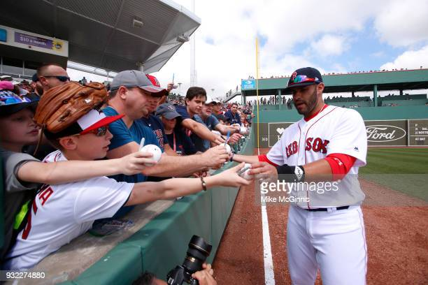 D Martinez of the Boston Red Sox signs autographs before the Spring Training game against the Baltimore Orioles at Jet Blue Park on March 11 2018 in...