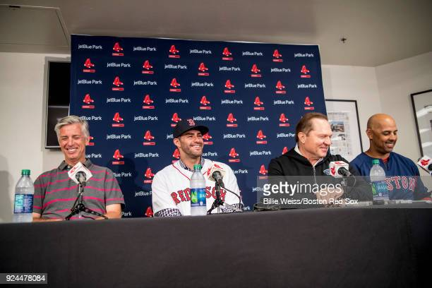 D Martinez of the Boston Red Sox speaks alongside Boston Red Sox President of Baseball Operations Dave Dombrowski agent Scott Boras and manager Alex...