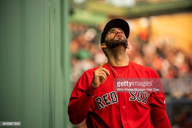 D Martinez of the Boston Red Sox warms up before a game against the Baltimore Orioles on April 13 2018 at Fenway Park in Boston Massachusetts
