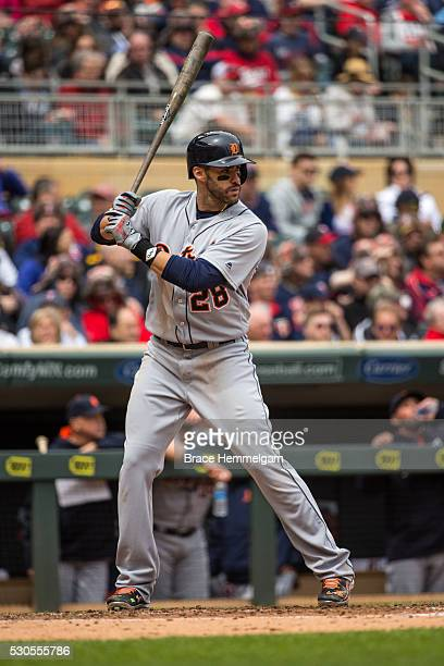 D Martinez of the Detroit Tigers bats against the Minnesota Twins on April 30 2016 at Target Field in Minneapolis Minnesota The Tigers defeated the...