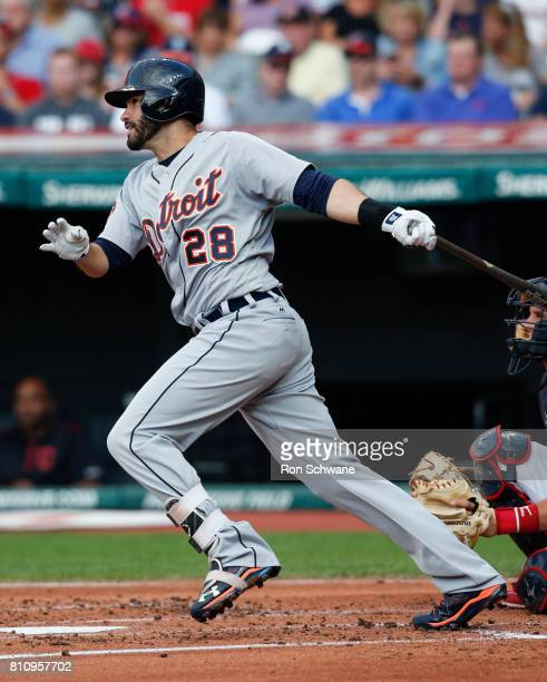 D Martinez of the Detroit Tigers hits a double off Starting pitcher Mike Clevinger of the Cleveland Indians during the second inning at Progressive...