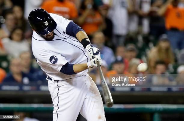 D Martinez of the Detroit Tigers hits a grand slam against the Baltimore Orioles to take a 87 lead during the seventh inning at Comerica Park on May...