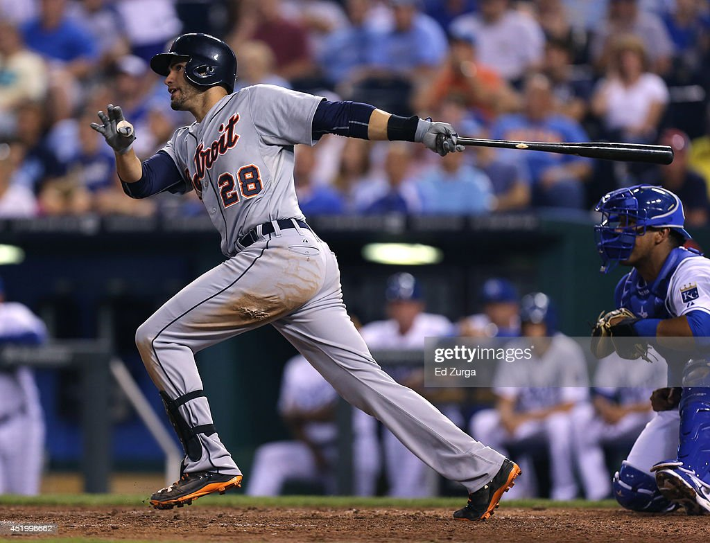 J.D. Martinez #28 of the Detroit Tigers hits a two-run single in the fifth inning against the Kansas City Royals at Kauffman Stadium on July 10, 2014 at Kauffman Stadium in Kansas City, Missouri.