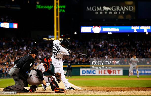 D Martinez of the Detroit Tigers hits an RBI double scoring Victor Martinez of the Detroit Tigers in the ninth inning against the Baltimore Orioles...