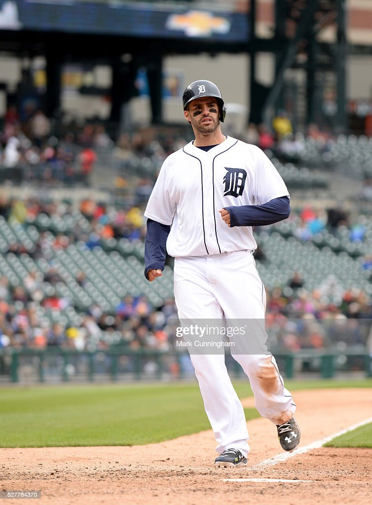J.D. Martinez #28 of the Detroit Tigers runs the bases during the game against the Oakland Athletics at Comerica Park on April 28, 2016 in Detroit, Michigan. The Tigers defeated the A's 7-3.