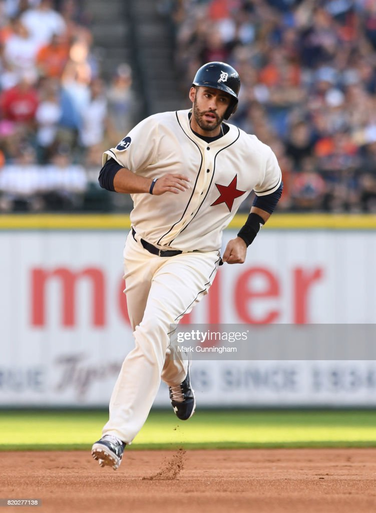 J.D. Martinez #28 of the Detroit Tigers runs the bases while wearing a Detroit Stars Negro League Tribute uniform during game two of a double header against the Cleveland Indians at Comerica Park on July 1, 2017 in Detroit, Michigan. The Indians defeated the Tigers 4-1.