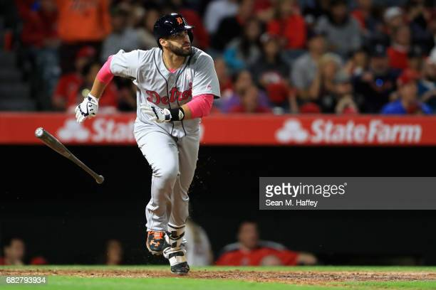 D Martinez of the Detroit Tigers runs to first base after hitting a solo homerun during the ninth inning of a game against the Los Angeles Angels of...