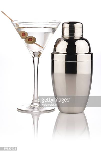 a martini and a metallic shaker - martini glass stock pictures, royalty-free photos & images