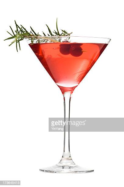 martini glass of cosmopolitan cocktail, red alcoholic beverage on white - martini glass stock pictures, royalty-free photos & images