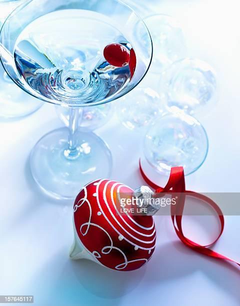 Martini next to Christmas ornament