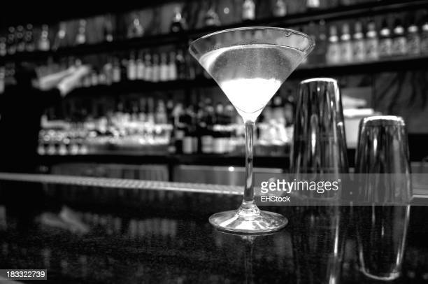 Martini on bar BW