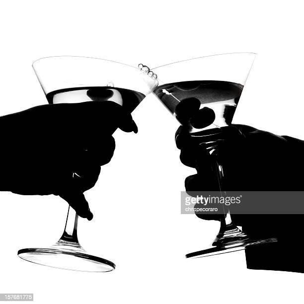 martini toast silhouette - martini glass stock pictures, royalty-free photos & images