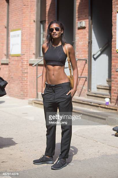 Martinician model Melodie Monrose outside the Public School fashion show at Milk Studios on Day 4 of New York Fashion Week Spring/Summer 2015 on...