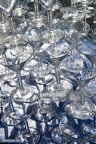 Martinin glasses stacked on top of each other