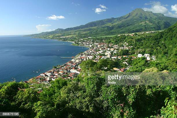 Martinique Caribbean West Coast St Pierre aerial view over the Bay of St Pierre Mount Pelee volcano Saint Pierre