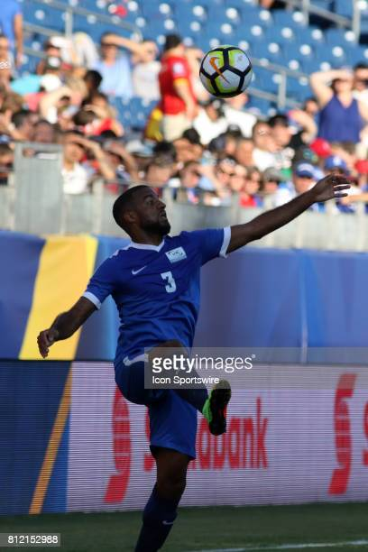 Martinique defender Antoine JeanBaptiste tries to control the ball during the group stage match of the CONCACAF Gold Cup between Nicaragua and...