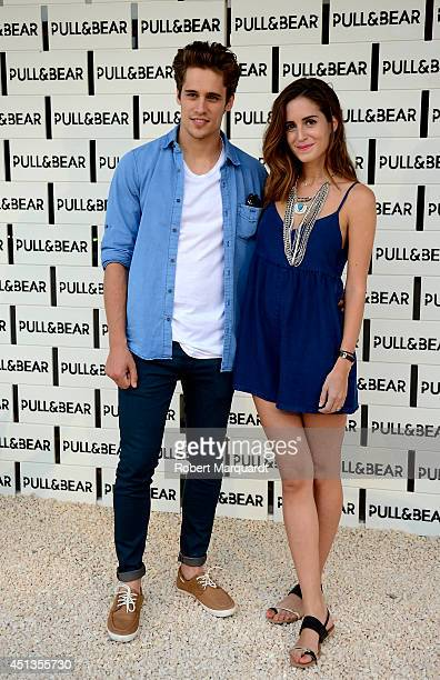 Martino Rivas and Gala Gonzalez pose during a photocall for 'Pull and Bear' pool party on June 27 2014 in Barcelona Spain