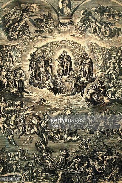 Martino Rota Dalmatian artist The Last Judgment 1569 Engraving after a work of Michelangelo Blanton Museum of Art Austin United States