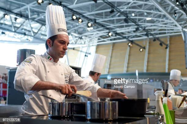 Martino Ruggieri of Italy cooks during the Europe 2018 Bocuse d'Or International culinary competition Best ten teams will access to the world final...