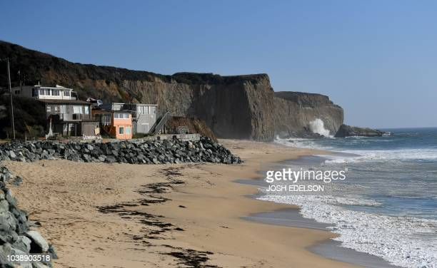 Martin's Beach is seen in Half Moon Bay California on September 19 2018 Billionaire Vinod Khosla purchased the land and has been limiting access and...