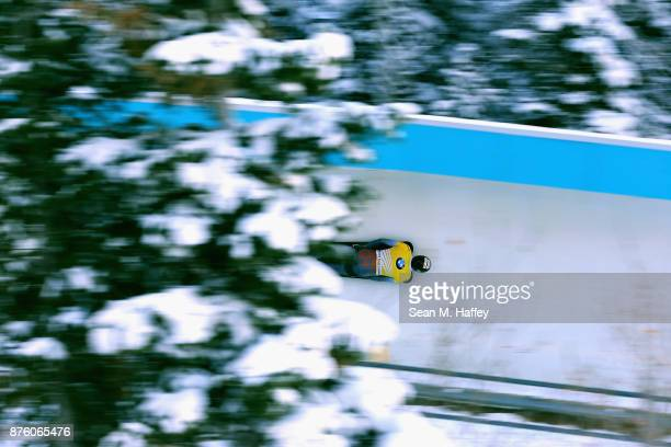 Martins Dukurs of Latvia competes in the Men's Skeleton during the BMW IBSF Bobsleigh and Skeleton World Cup at Utah Olympic Park on November 18,...
