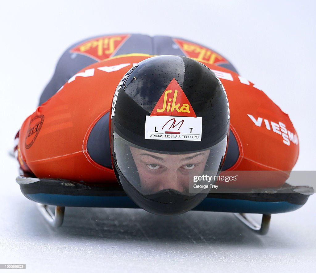 Martins Dukurs of Latvia finishes first in the FIBT men's skeleton world cup heat 2, on November 17, 2012 at Utah Olympic Park in Park City, Utah.