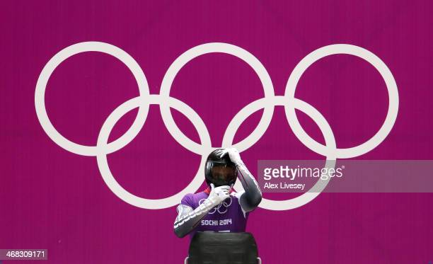 Martins Dukurs of Latvia prepares to make a run during a Men's Skeleton training session on Day 3 of the Sochi 2014 Winter Olympics at the Sanki...