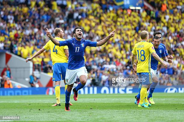 Martins Eder of Italy celebrates after scoring his side first goal during the UEFA EURO 2016 Group E match between Italy and Sweden at Stadium...
