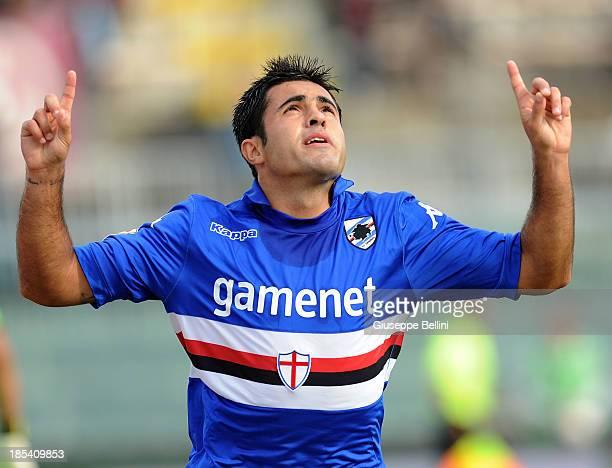 Martins Eder of Sampdoria celebrates after scoring the opening goal during the Serie A match between AS Livorno Calcio and UC Sampdoria at Stadio...