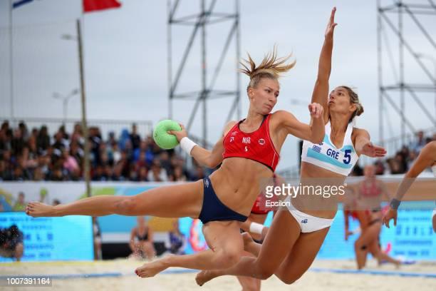 Martinsen Marielle Elisabeth Mathisen of Norway plays a shot during 2018 Women's Beach Handball World Cup final against Kaloidi Anna Polyxeni of...