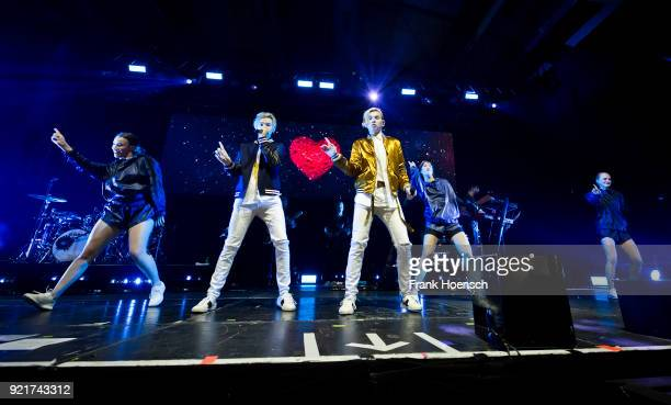 Martinus Gunnarsen and Marcus Gunnarsen of the Norwegian band Marcus Martinus perform live on stage during a concert at the Columbiahalle on February...
